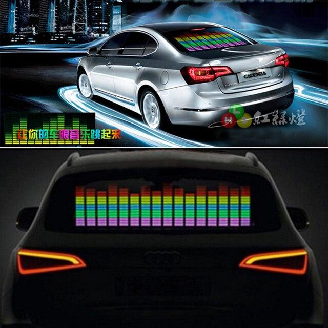 siparnuo 90Cm*25Cm Car Music Rhythm Lamp Car Sticker Sound Rhythm Activated El Equalizer Panel Led Interior Lighting