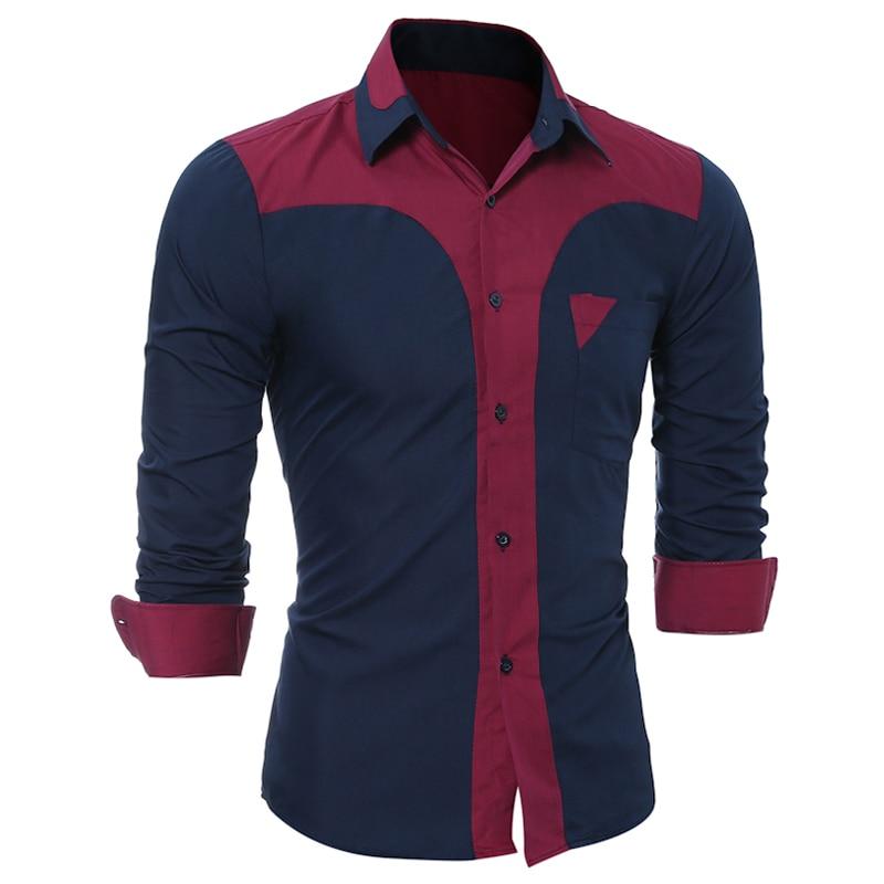 2018 Fashion High Quality Men Shirt Brand Long Sleeved Classical Patchwork Casual Dress Shirts Men Camisas M-3XL