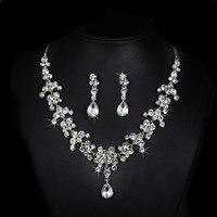 Exquisite Dubai Zestawy Biżuterii Dla Nowożeńców Ślubne 925 Sterling Silver Rhinestone Oświadczenie Naszyjniki Kolczyki Rocznika ND026 Bisutería