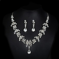Exquisite Bridal Dubai Jewelry Sets Wedding White Gold Plated Rhinestone Statement Necklaces Earrings Vintage Bisuteria ND026