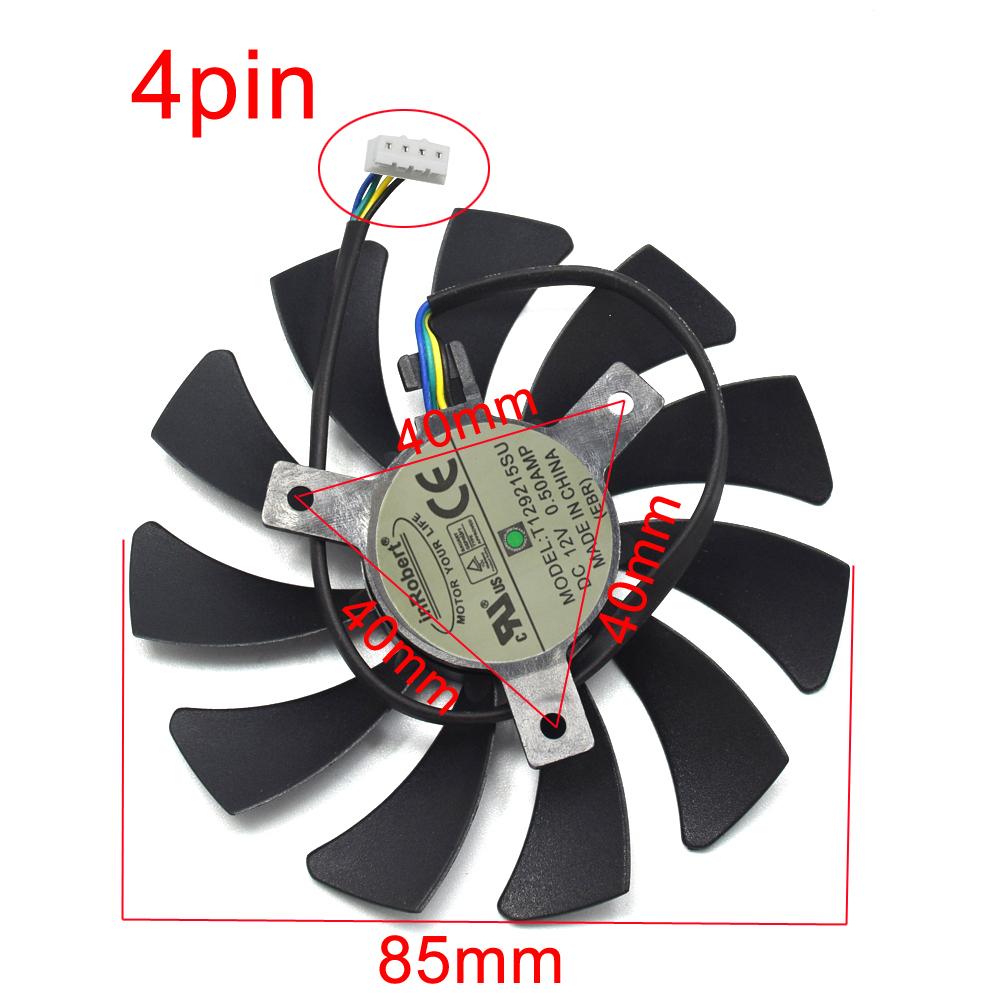 85MM T129215SH T129215SU DC12V 0 30AMP 4PIN Cooling Fan for Zotac GeForce  N1060IXOC 6GD GTX 1060 3GB Mini ITX Graphic Card