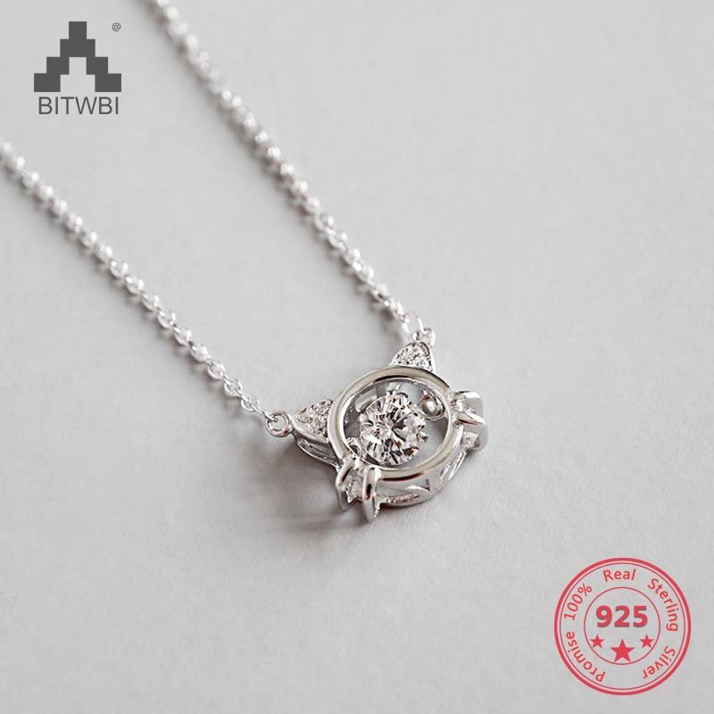 2019 Mode Chic 925 Sterling Silber Cz Zirkon Nette Süße Kristall Kitty Anhänger Halskette Schmuck Für Frau Mädchen Schöne Geschenk