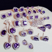 Fashion Plant Flower Purple Crystal stone Long Drop Earrings Square Round Oval Heart Cubic Zirconia women Party Jewelry Hanging