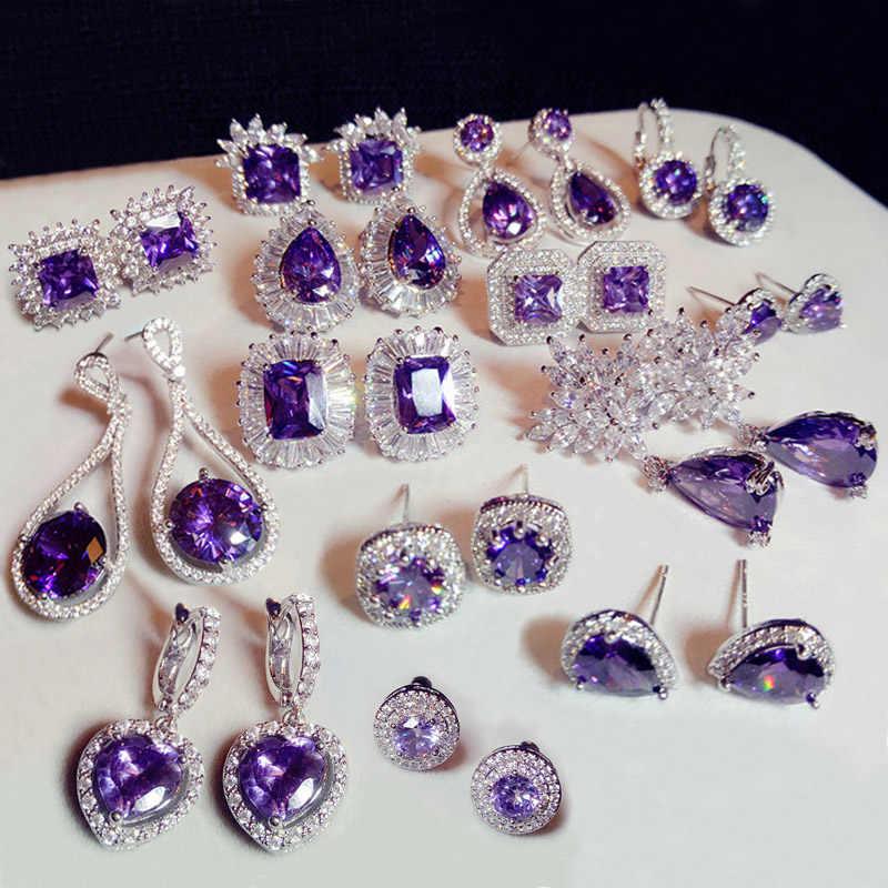 Mode Tanaman Bunga Ungu Kristal batu Panjang Drop Earrings Persegi Putaran Oval Hati Cubic Zirconia wanita Partai Perhiasan Gantung
