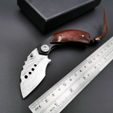 Damascus Folding Knife Rosewood Handle Outdoor Camping Survival Pocket Knives Tactical Hunting High Quality EDC Tool voltron damascus blade tactical folding knife wood handle outdoor utility camping survival knife hunting hand tool knives