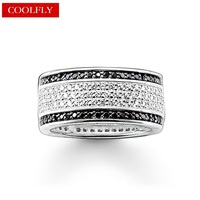 Love Black And White Zirconia Pave Rings Thomas Style Fashion Glam Jewelry For Women 2017 New
