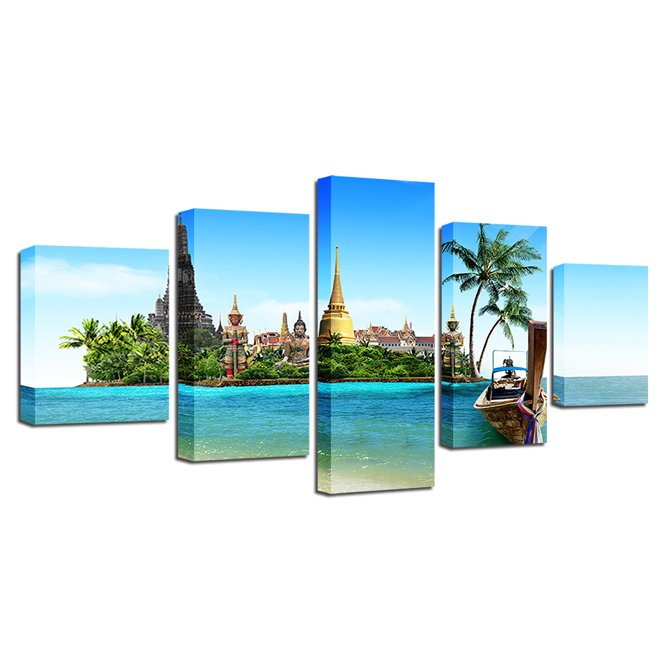 Canvas HD Prints Paintings Living Room Decor Framework 5 Pieces Tropical Island Pictures Thailand Pattaya Buddha Poster Wall Art in Painting Calligraphy from Home Garden