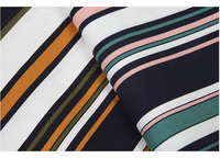 HLQON 100% cotton sateen multy colour stripe fabric for women clothing wedding dress upholstery for whole sale 5 meters