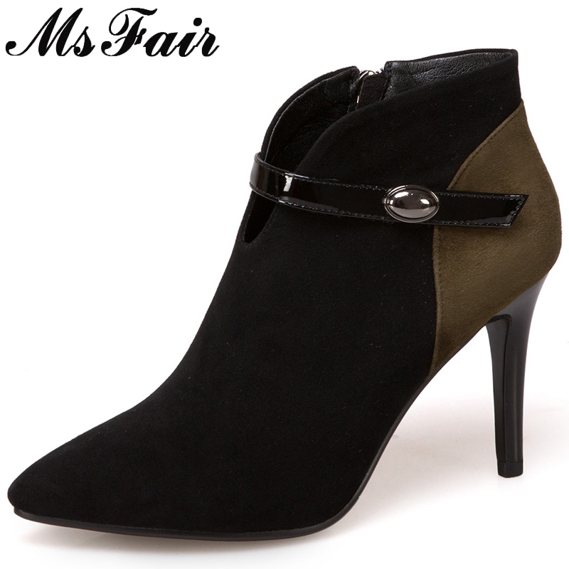 MSFAIR Pointed Toe Thin Heels Women Boots Fashion Zipper Buckle Ankle Boots Women Shoes Concise High Heel Ankle Boot Shoes Woman msfair women pointed toe high heel boots genuine leather metal buckle women ankle boots winter thin heel ankle boots women shoes