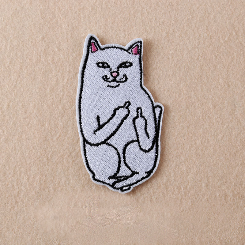 1pcs cat with the finger funny embroidered patch iron on for Applique decoration