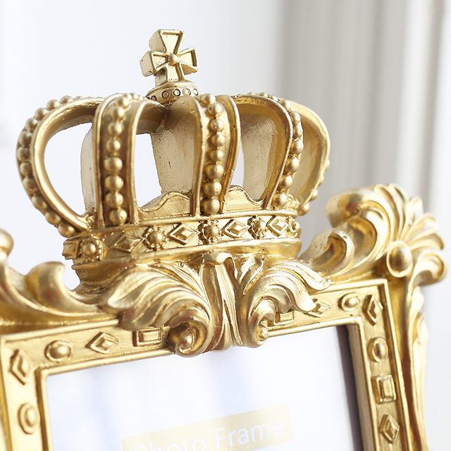 Luxury Baroque Style Gold Crown Home Decor Creative Resin Photo Frame