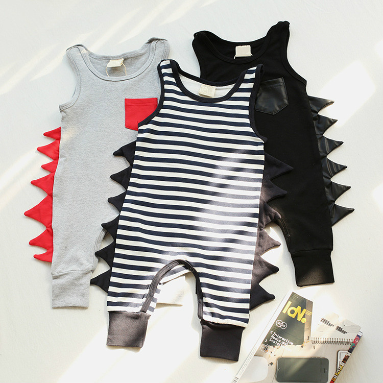Baby Clothes 2017 New Born Baby Boys Girls Romper  Cotton Dinosaur Sleeveless Body Suit Clothing Toddler Infant Jumpsuit newborn baby girls rompers 100% cotton long sleeve angel wings leisure body suit clothing toddler jumpsuit infant boys clothes