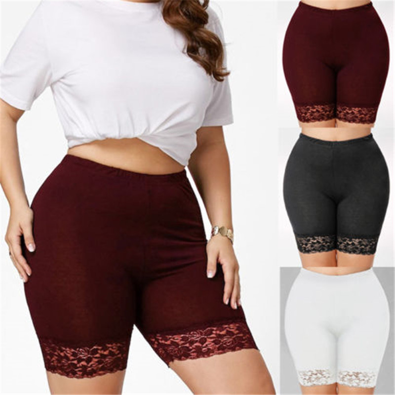 Popular Fashion Causal Solid Skinny Women <font><b>Plus</b></font> <font><b>Size</b></font> Mid Rise <font><b>Lace</b></font> <font><b>Shorts</b></font> Elastic Casual Sports Trunks image