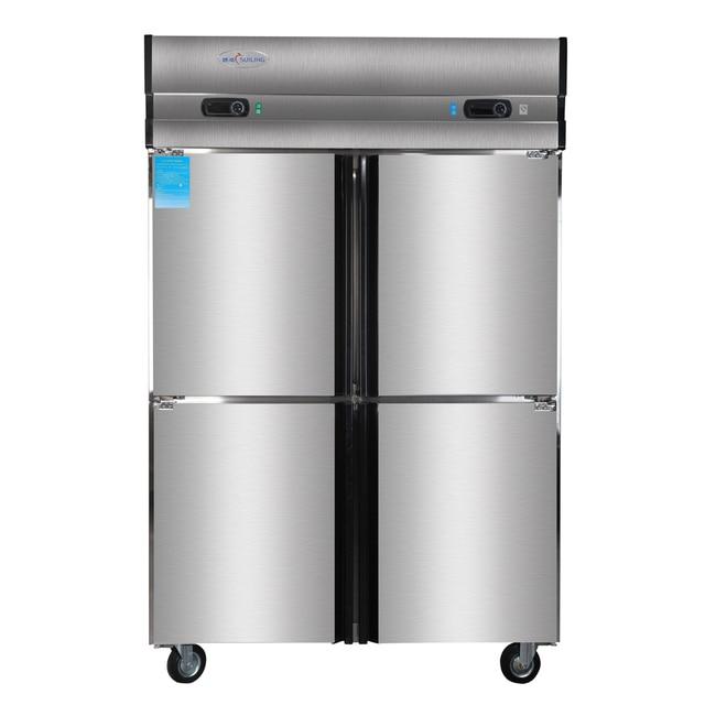 1000L 4 Door Restaurant Kitchen Stainless Steel Commercial Upright  Refrigerator Top Freezer Reach In