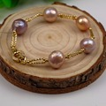2017 Charm Unique Bracelet Natural Freshwater Pearl Glass Baroque Pearl Bracelet Natural Colorful Pearl Bracelet Women Gift