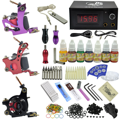 Complete Tattoo machine set motor guns tattoo kit with power Supply needles mat set ink supply practice skin need tip brush ophir 380pcs pro complete tattoo kit 3 tattoo machines guns 40 colors ink pigment tattoo supply power needles nozzles set ta005
