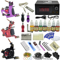 Complete Tattoo machine set motor guns tattoo kit with power Supply needles mat set ink supply practice skin need tip brush