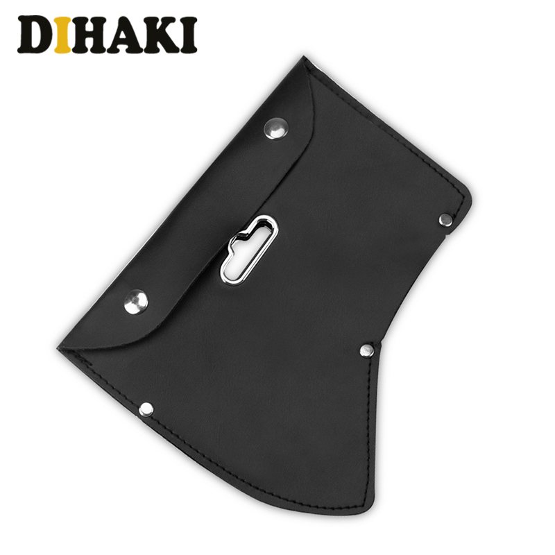 High Quality Snap Closure Axe Cover Blade Protection Leather Tool Bag Black Hanging Waistband Hand Tool Parts Bag With Hook Hole