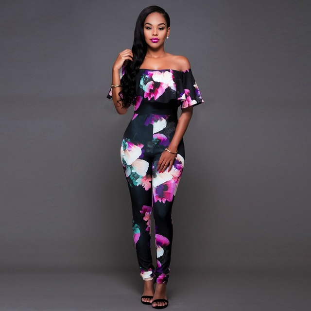 7f6f82b8edf2 Long Plus Size Jumpsuits And Rompers For Women Sexy Printed Ruffles Off  Shoulder Slash Neck Skinny Elegant Jumpsuit Hot Sale 4XL