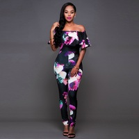 Long Plus Size Jumpsuits And Rompers For Women Sexy Printed Ruffles Off Shoulder Slash Neck Skinny