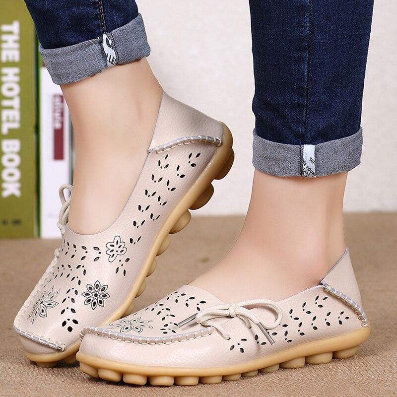 Mulheres Apartamentos Mulheres Sapatos de Couro Genuíno Deslizamento Em Loafers Macio Mulher Enfermeira 34-44 Bailarina Sapatos Plus Size Casuais sapato Feminino