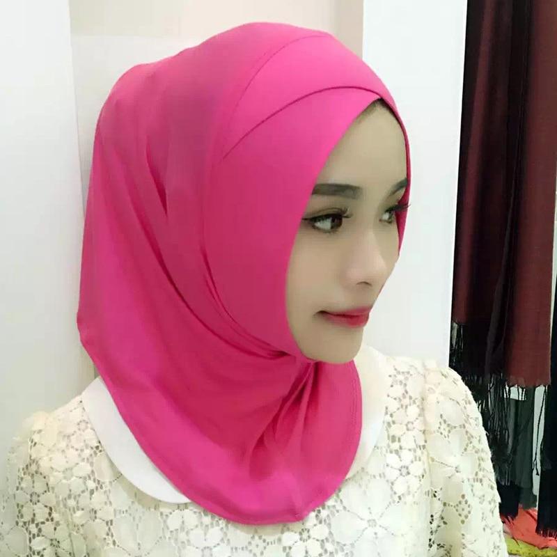 2019 Fashion Thin Cross Sleeve Scarf Bottom Hat Shawl Muslim Female Hijabs Scarfs Long Section Islam Women Plain Hijab Scarves