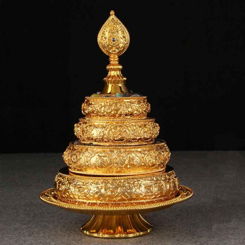 High Quality Big Size Nepal Style Manza Tray Gemstone Offering Bowl Zinc Alloy Material With Height