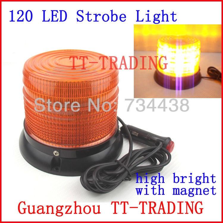 ФОТО Eemgency light 120 LED strobe lights  Warning for truck led beacon with magnet Amber DC12V