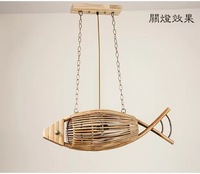 Japanese bamboo creative fish type 75CM Pendant Lights weaving restaurant pastoral bedroom lamp southeast led bamboo lamp zb34
