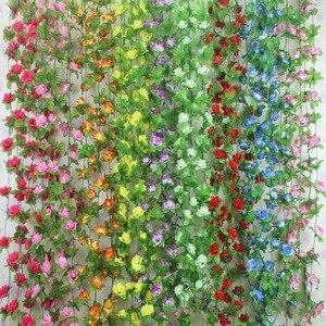 Image 1 - 가짜 실크 장미 꽃 아이비 포도 나무 인공 꽃 녹색 잎 홈 웨딩 장식 매달려 갈 랜드 홈 장식