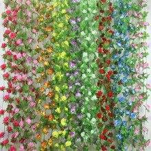 Sztuczne jedwabne róże kwiaty stroik z bluszczu sztuczne kwiaty z zielonymi liśćmi do dekoracji ślubnej domu wiszące Garland Home Decor