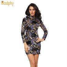 2017 neue Frauen Sexy Herbst Stehen Ansatz Lange Ärmeln Kleid Luxus Glanz  Abendgesellschaft Kleider Dropshipping HL726 6c160768e7