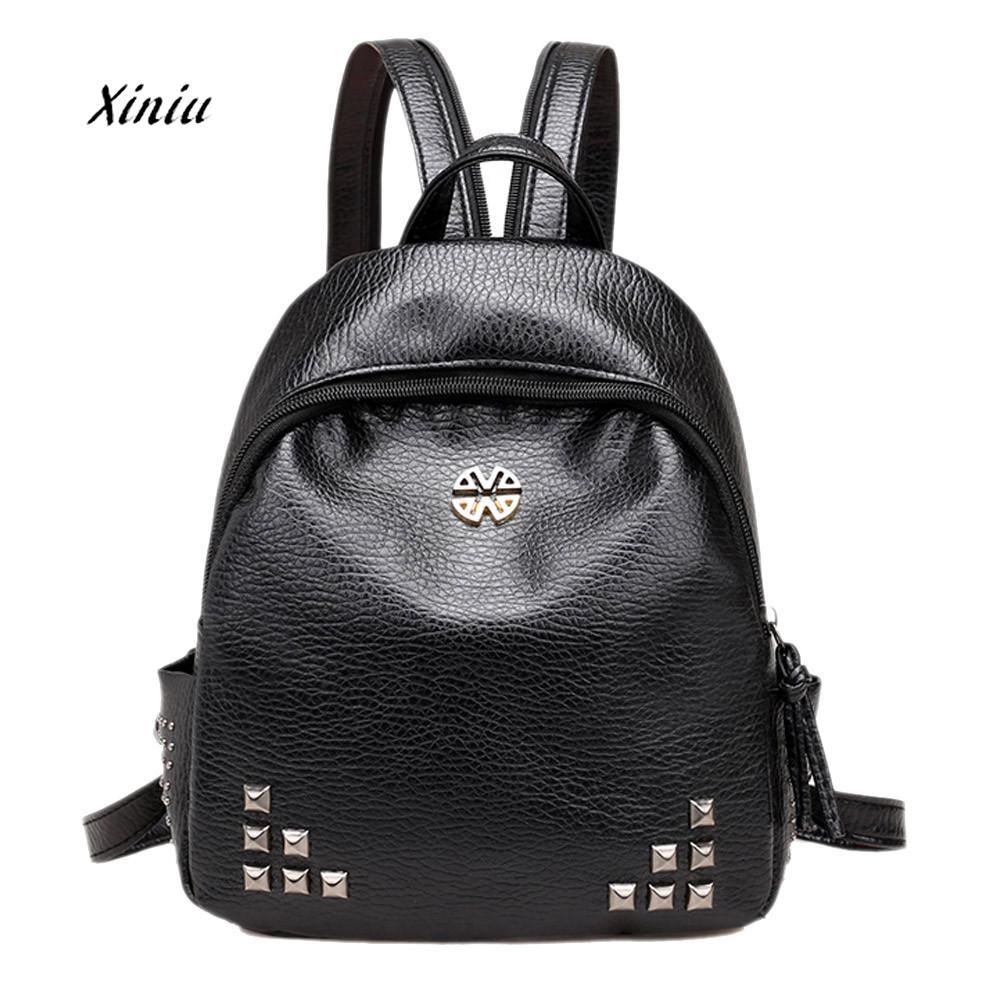 Womens New Backpack Travel Rivet School Rucksack Ladies Fashion Shoulder Backpakcs Student School Bag For Teenagers