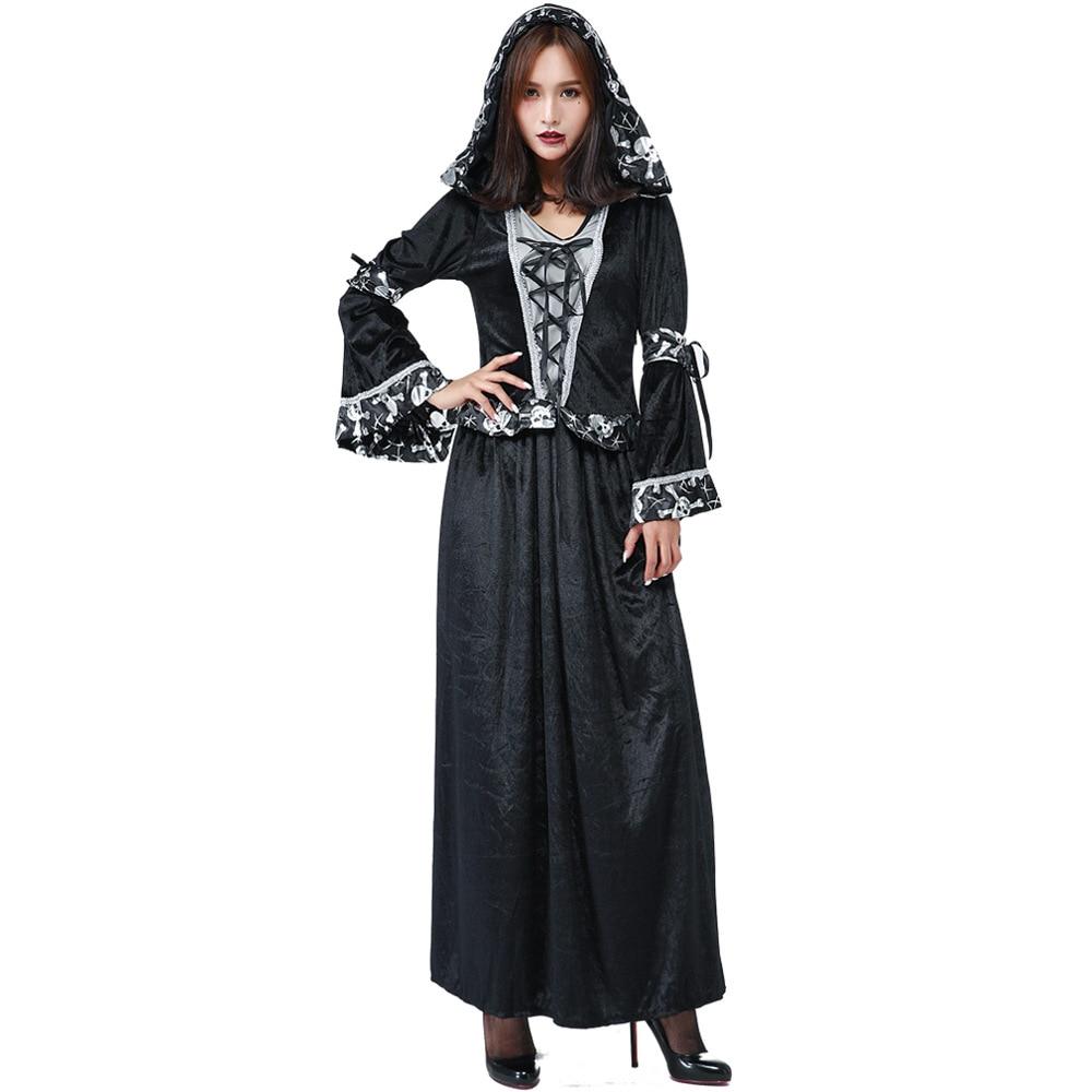 US $26 59 30% OFF Umorden Women Dark Sorceress Costume Voodoo Priestess  Cosplay Dress Skull Print Trim Halloween Carnival Purim Party Costumes-in