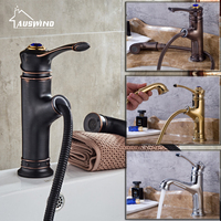 European Antique Kitchen Faucets Brass Brushed Black Bathroom Faucet Pull Out Single Handle Single Hole Mixer