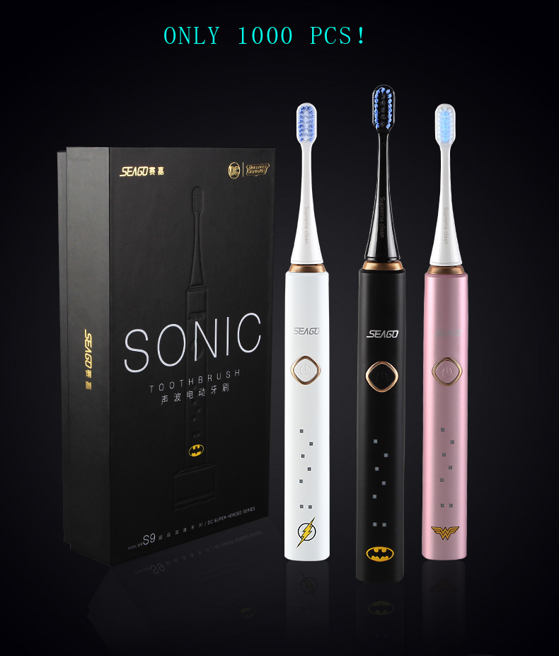 SEAGO Electric toothbrush adult soft sonic tooth brush waterproof charging home Superman BATMAN MS.Marvel S9 couple toothbrush цена и фото