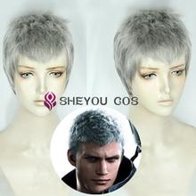 Nero короткие Серебристые серые волосы косплей парики термостойкие Хэллоуин Косплей Костюм парик+ парик Кепка