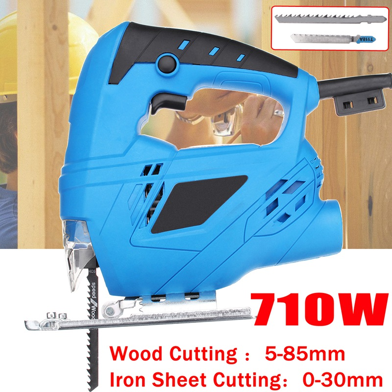 Doersupp 1Pcs Blue Metal Plastic 220v 710w Electric Scroll Sweep Saw Kit With 2 x Saw Blade Power Tools for Wood Metal Cutting