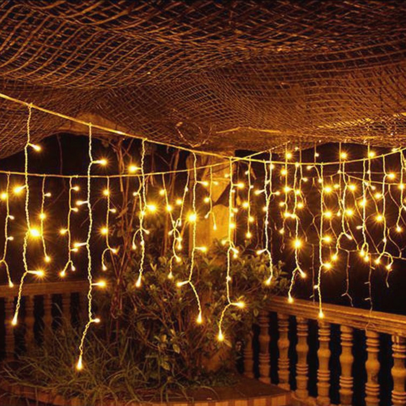96Leds Garden Curtain Icicle String Lights 4M EU Garland 0.6 Droop Outdoor Icicle Lamp Holiday Wedding Party Festival Home Decor