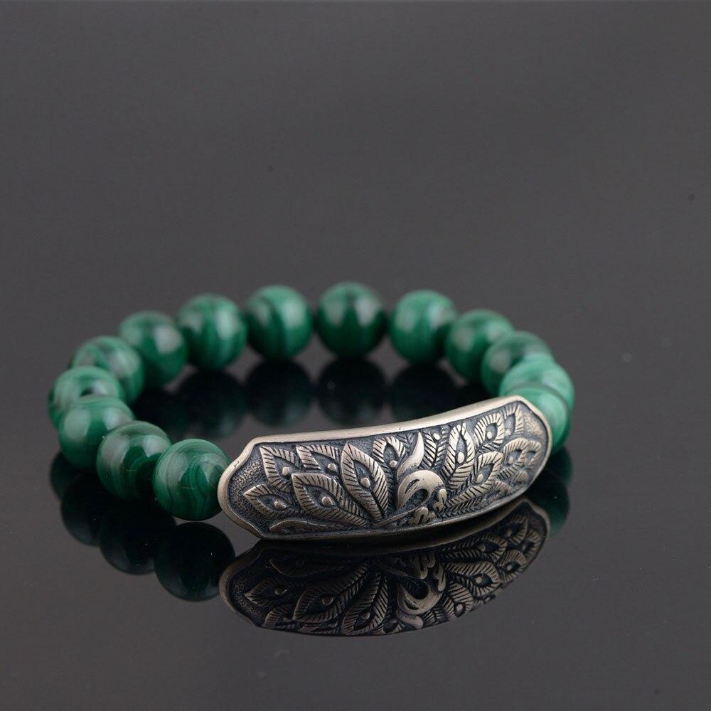 Pure 925 Silver Peacock Bracelet Fashion Malachite Stone S925 Thai Silver Beads Bracelets for Women Jewelry