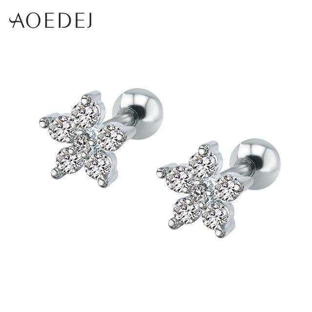 3f382e14a313 AOEDEJ 6mm Star Earrings CZ Crystal Earrings Women Stainless Steel  Rhinestone Stud Earrings Girls Aretes Acero