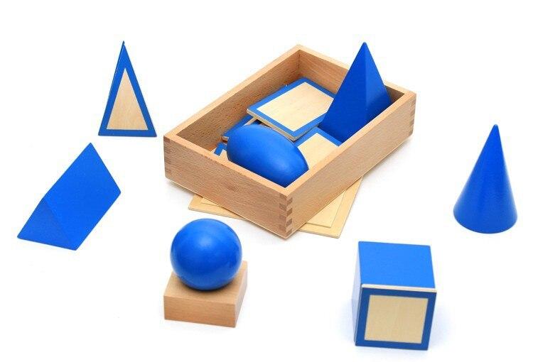 Enfant Bébé Jouets Montessori Géométrie stéréo ensemble Jouets Éducatifs Pour Bébés En Bois blocs Blocs de Construction Cadeau