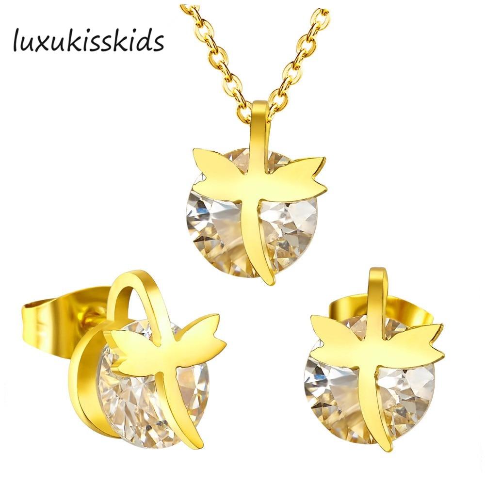 a4eb4e0ff141 LUXUKISSSKIDS moda Cruz oro con creado gemstone acero joyería conjuntos  collar pendientes