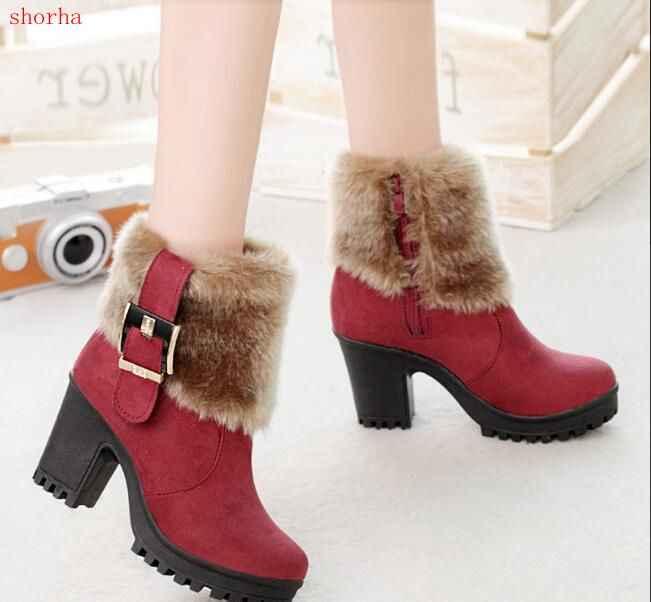 Nuevas botas de nieve informales de tacón alto de piel de imitación de Invierno para mujer