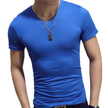 2019 New Summer Solid Men's T-shirt Fashion V Neck Short Sleeve T Shirt Men Clothing Trend Casual Slim Fit Top Tees(China)
