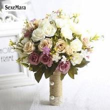 SexeMara 2019 New Bridesmaid Wedding Bride Bouquet Romantic Wedding Bouquet Flower Brides Wedding Accessories