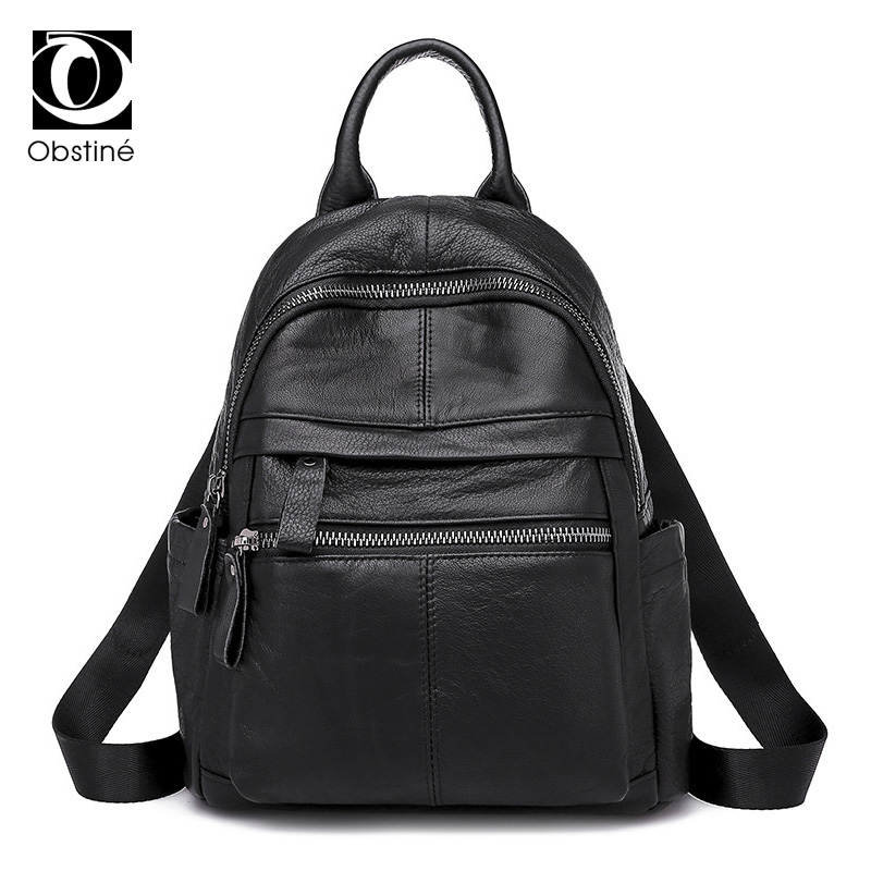 Genuine Leather Backpacks Women Luxury Soft Real Cow Leather Backpack for Girls Black Fashion Bagpack Female