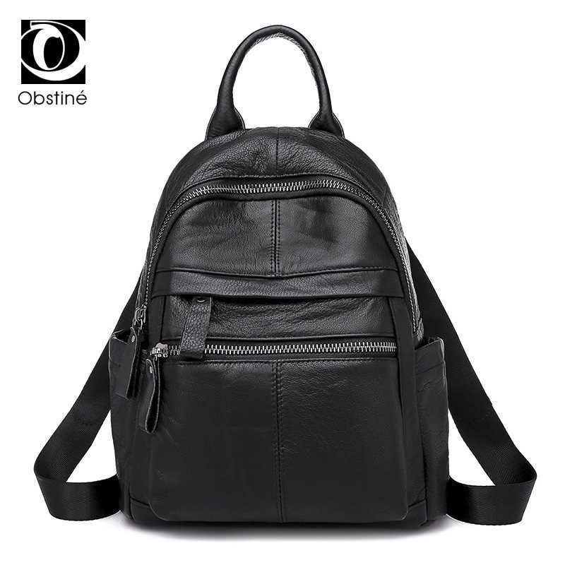 Genuine Leather Backpacks Women Luxury Soft Real Cow Leather Backpack for Travel Black Fashion Designer Back Pack Bag Female