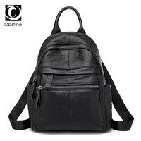 Genuine Leather Backpacks Women Luxury Soft Real Cow Leather Backpack for Girls Black Fashion Bagpack Female Designer Back Pack