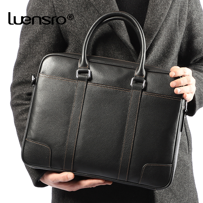 Famous Brand Man Briefcase Genuine Leather Men Bag Fashion Male Shoulder Laptop Bag Handbag Business Cow Leather Men's Briefcase